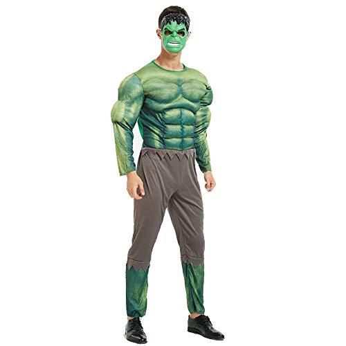 Avengers Costume di Carnevale Uomo Ragno Adulto Costume da Supereroe Uomo,Black Panther,Hulk,Capitan America,Iron Man,Halloween Cosplay Costumi,Hulk-OneSize