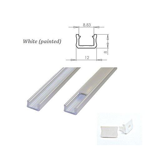 MINI Alu Profil für bis zu 8 mm Verbindungsleitung, Led-Streifen, weiß lackiert, Milchglas-Abdeckung, 2 Endkappen, Länge: 1 m/100 cm/1000 mm -