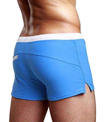 Zengvee Costume da Bagno a Boxer da Uomo Elastico con Taschino per Nuoto Spiaggia Mare Piscina Sport Slip Pantaloncini Calzoncini Mutande Blu
