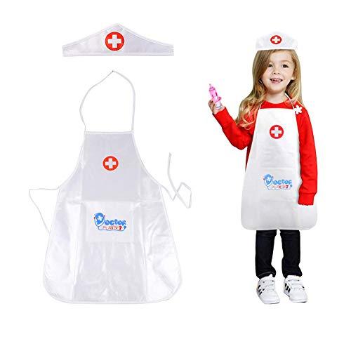 Luerme Kinder Baumwolle Uniformen Arzt Rollenspiel Kostüm Dress-Up Set Allgemein Weißes Kleid Krankenschwester ()