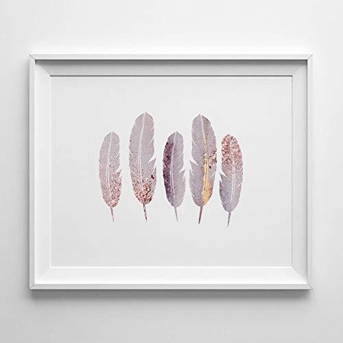 5 rosa Feder Druck, lila Feder Wandkunst, rosa Kinderzimmer Dekor, rosa Kinderzimmer, rosa Vogel Zubehör, Vogel Thema Geschenk, Vogel Kunst, Feder -