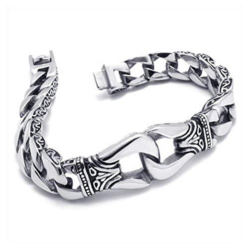 ac67562a79ca3 KONOV Bijoux Bracelet Homme - Classique Lourd - Acier Inoxydable - Fantaisie  - pour Homme -