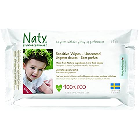 Naty By Nature Babycare - Sensitive Wipes - Toallitas húmedas ecológicas - 12 x 56 toallitas