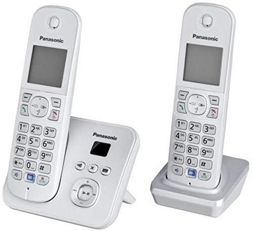 Panasonic KX-TG6822GS DECT-Schnurlostelefon mit Anrufbeantworter, GAP Telefon, Festnetz, perlsilber