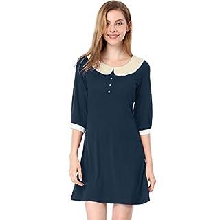 Allegra K Herbst Damen Blütenblatt Kragen Figurbetontes Kleid mit Langärmel Dark Blau Gr.XL