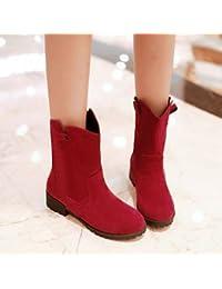 Mujer Zapatos PVC Primavera verano Botas de lluvia Botas Tacón Bajo Botines / Hasta el Tobillo Rojo / Almendra