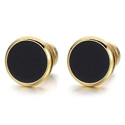 2 Oro Negro Enchufe Falso Fake Plug, Pendientes de Hombre Mujer, Aretes, Acero Inoxidable 8MM