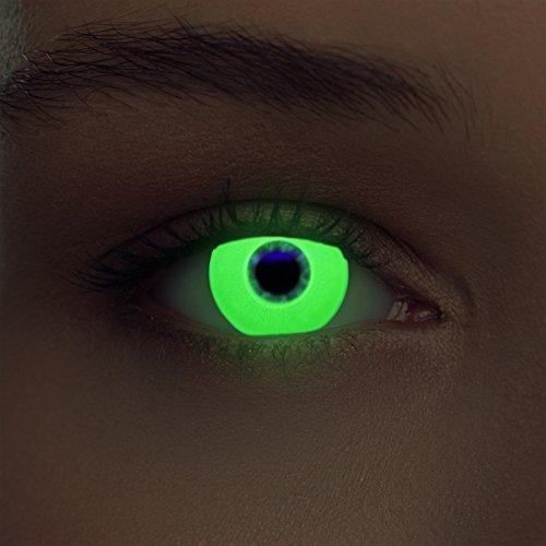 Grüne leuchtende Schwarzlicht Kontaktlinsen Neon Kontaktlinsen in grün (Glowing Green) (Halloween Make-up Grün Neon)