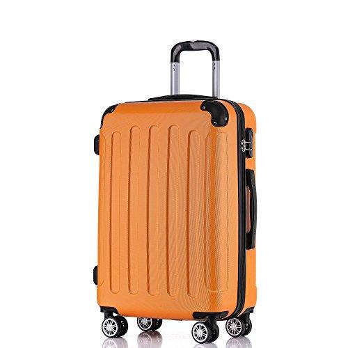 BEIBYE Hartschalen-Koffer Trolley Rollkoffer Reisekoffer Handgepäck 4 Rollen (M-L-XL-Set) (Orangen, XL)