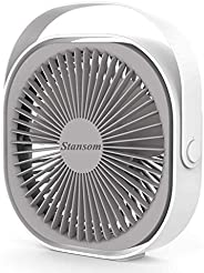 Stansom Desk Fan, Rechargeable Portable USB Desktop Fan With 360° Rotation, Adjustable 3 Speeds Strong Wind Ai