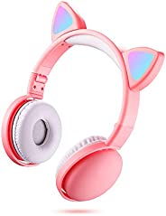 Andoer Noise Cancelling,LED Cat Ear Headphones RGB Color Bluetooth 5.0 Headsets Noise Cancelling Foldable Adul
