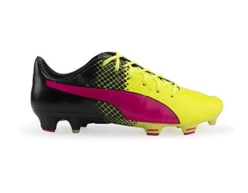 PUMA Men s evoPOWER 1 3 Tricks FG Pink Glow Safety Yellow Black Soccer Shoes - 10A