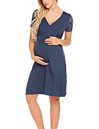 3dac14c9cd0a UNibelle Vestito da maternità Donna Abito di maternità Abito in Pizzo Abito  di Gravidanza Scollo a