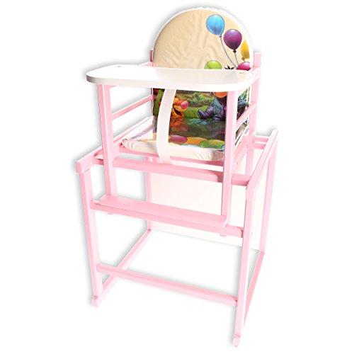 Kinder Hochstuhl Kombihochstuhl Babyhochstuhl Tisch Holz WEISS/ROSA