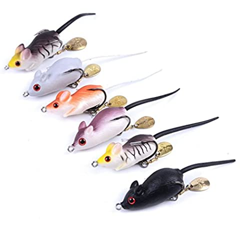 Aorace 6pcs/lot 5.08cm/8.57g Soft Rubber Mouse Fishing Lures Baits Top Water Tackle Hooks Bass Bait
