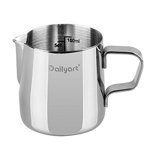 Dailyart Milk Jug Milk Cup Milk Frothing Pitcher, Stainless Steel (6.5oz(200ml))