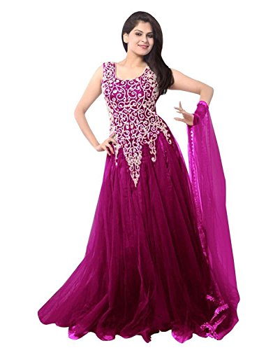 Super Deal Woman\'s Wine Soft Net Anarkali Unstitched Free Size XXL Salwar Suits Sets Dress (Indian Clothing)