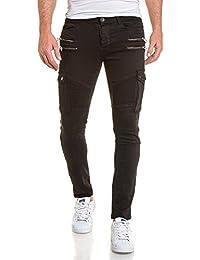 BLZ jeans - Jeans homme slim noir cargo nervuré et zip