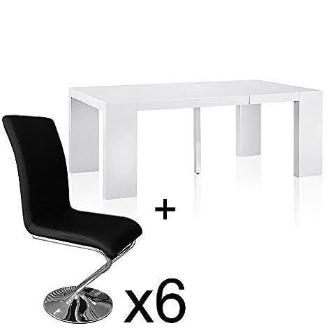 Intense Déco - Table extensible Blanc laqué + 6 chaises