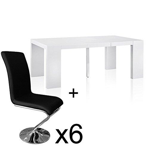 INTENSEDECO Table Extensible Blanc laqué + 6 chaises Colami Noir