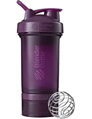 BlenderBottle Prostak Protein Shaker / Diät Shaker  (650ml, skaliert bis 450ml, mit 2 Container 150ml & 100ml, 1 Pillenfach) Plum