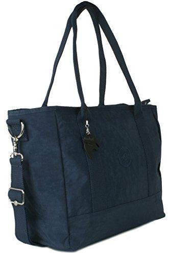 Big Hanbag Shop - Borsa grande Shopper Bag X large a tracolla, leggera Navy (NL786)