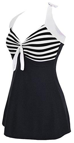 TDOLAH Figurformender Monokini V Ausschnitt Badeanzug mit Röckchen Bauchweg Einteiliger Badekleid Black
