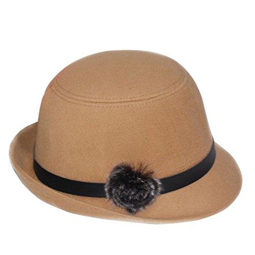 THENICE mode chapeau feutre chapeau melon femme bowler Hats adulte beige