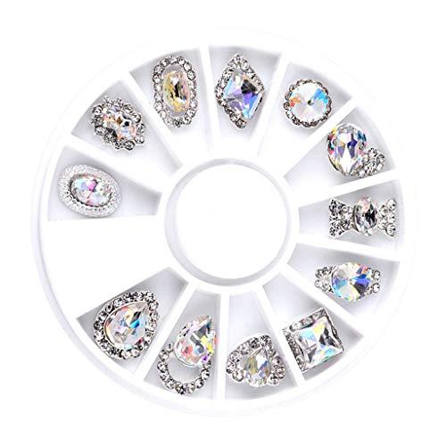 Homyl Boîte de 12 Pièces Nail Cristaux AB Nail Art Strass Perles Rondes Mixte Charms en Verre à Fond Plat Pierres Précieuses, Décoration des Ongles