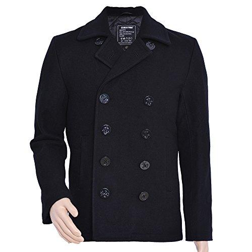 Seibertron Herren Wollmantel Pea Coat USN Marine Jacke Herren Navy Peacoat Mantel Winterjacke Übergangsjacke (schwarz, S)