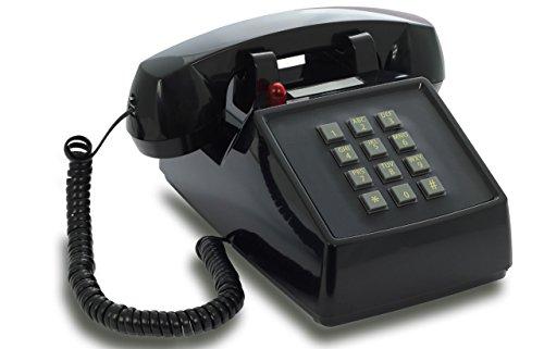 OPIS PushMeFon cable: 1970er Retro-Tastentelefon mit klassischer Metallklingel (schwarz)