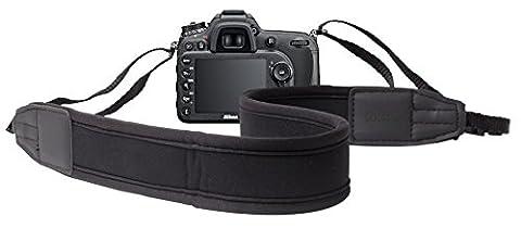DURAGADGET Bandoulière / tour de cou ajustable en néoprène noir pour Nikon Coolpix P610, Canon PowerShot SX410 IS et Pentax XG-1 appareils photo Bridge -