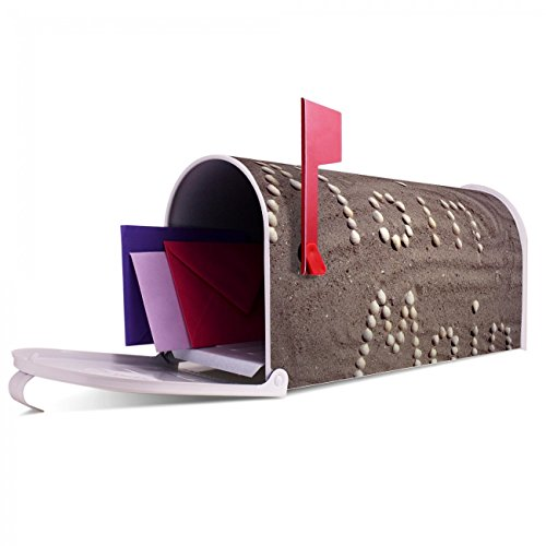 BANJADO US Mailbox | Amerikanischer Briefkasten 51x22x17cm | Letterbox Stahl weiß | mit Motiv Moin Moin, Briefkasten:ohne Standfuß - 5