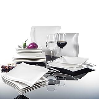 MALACASA Série Flora 18 pièces Assiettes Service de Table Porcelaine Vaisselles 6 Assiette Plate, 6 Assiette Creuse et 6 Assiettes à Dessert pour 6 Personnes Blanc Crème