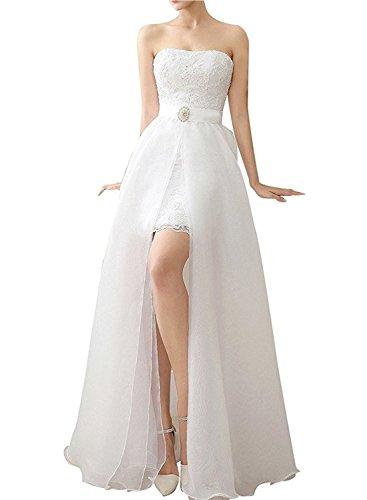 AZNA Damen High Low Two Pieces Lace Brautkleid mit abnehmbarem Rock Hochzeitskleid Elfenbein 38