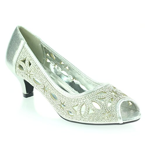 Femmes Dames Diamante Peep Toe Soir Mariage Fête De mariée Bal de promo Faible Talon de chaton Des sandales Chaussures Taille Argent