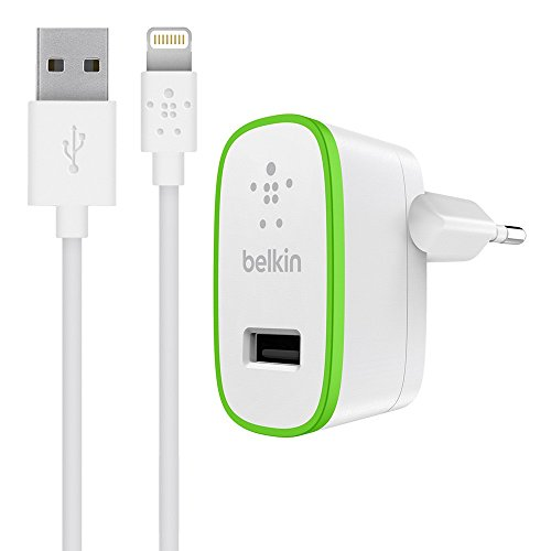 Belkin F8J125VF04-WHT Caricabatteria da Casa con Cavo Incluso di Ricarica Standard e Sincronizzazione per iPad e iPhone da USB a Lightning, 12 W, 2.4 A, 1.2 m, Bianco