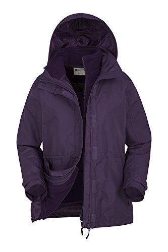 Mountain Warehouse Fell 3 in 1 Damen Wasserdichte Jacke Mantel + Fleece Regenschutz Funktionsjacke Doppeljacke Winterjacke Violett DE 42 (EU 44)