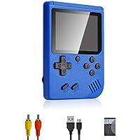 Lychee Mini Retro Consola de Juegos Portátil,Pantalla LCD de 3 Pulgadas HD Consolas de Juegos de Mano con 400 Juegos Clásicos, Cumpleaños para Niños/Adultos (Azul)