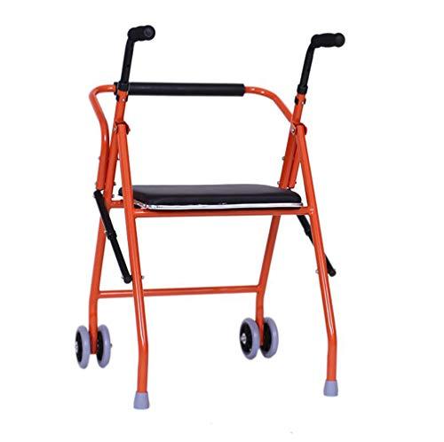 Jmung Rollator mit 2 Rädern Für Senioren PU-Sitzfläche Faltbar Für Wohnung Haus Outdoor Indoor Innen Außen