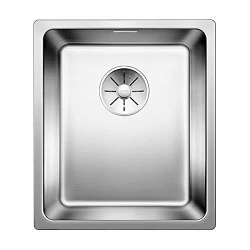 Blanco Andano 340-IF, Küchenspüle für normalen und flächenbündigen Einbau, Einbauspüle, mit InFino-Ablaufsystem, Edelstahl Seidenglanz; 522953