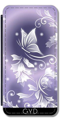 Leder Flip Case Tasche Hülle für Apple iPhone 6 Plus / 6S Plus - Lila Schmetterling Fantasie by Nina Baydur Lederoptik