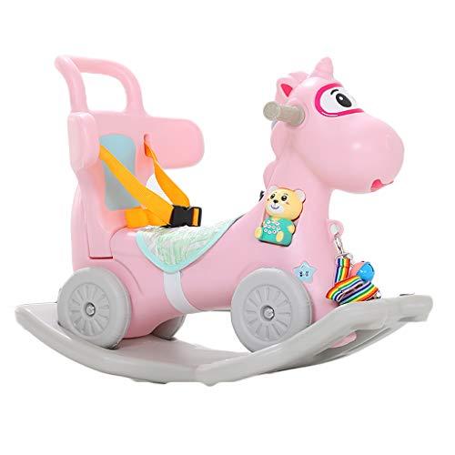 Schaukelpferd QIQIDEDIAN Trojan Kinder Plastikschaukel Wiegen EIN Jähriges Baby Spielzeug Kleine Dual-use 0-1 Geburtstag (Color : Pink)