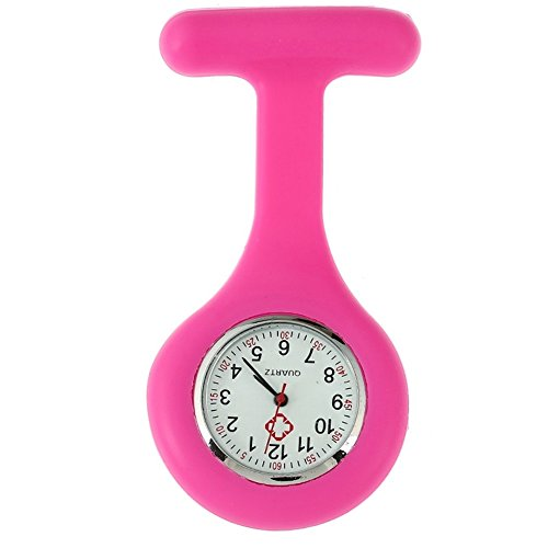 TRIXES Taschenuhr Uhr für Krankenschwestern Silikon mit Anstecknadel Pink