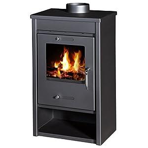 Estufa de leña, quemador de troncos moderno, estufa de leña, chimenea superior de 9/13 kW