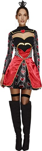 Fever, Damen Herzkönigin Kostüm, Kleid mit Unterrock und Mini Krone, Größe: M, (Herzen Tutu Kostüm Der Königin)
