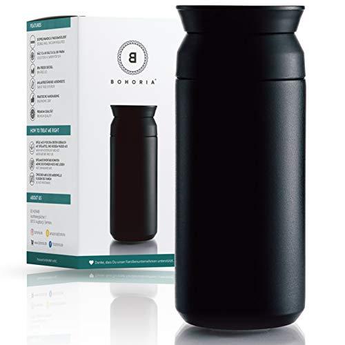 BOHORIA® Premium Edelstahl Kaffee-to-Go-Becher - Isolierbecher - Thermo-Becher - Doppelwandig & Vakuumisoliert - 360 ml - Reise-Becher Kaffee und Tee zum Mitnehmen - Autobecher Travel Mug (Ink)