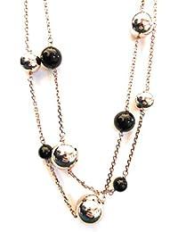 d86399c730e0 Collar largo de bronce cobrizo y bola ónice negro