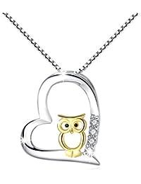 cuoka 925 Sterling Silber Two Tone Eule Herz Anhänger Halskette Schmuck für Frauen Mädchen …