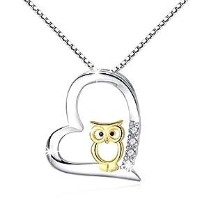 925 Sterling Silber Two Tone Eule Herz Anhänger Halskette Schmuck für Frauen Mädchen